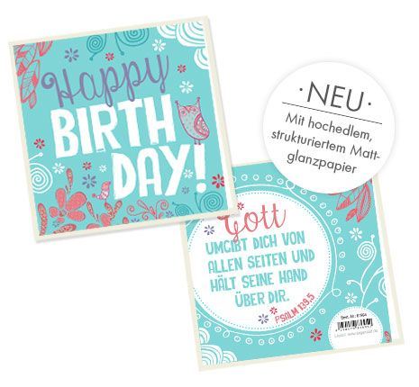 Doppelkarte quadratisch - Happy Birthday